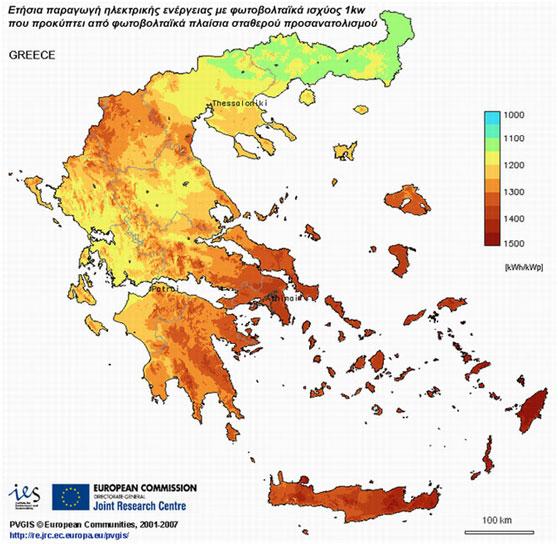 Home Gas Ελληνικός χάρτης ετήσιας ηλεκτρικής ενέργειας με φωτοβολταϊκά