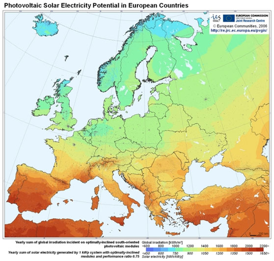 Home Gaw Ευρωπαϊκός Χάρτης ετήσιας ηλεκτρικής ενέργειας με φωτοβολταϊκά